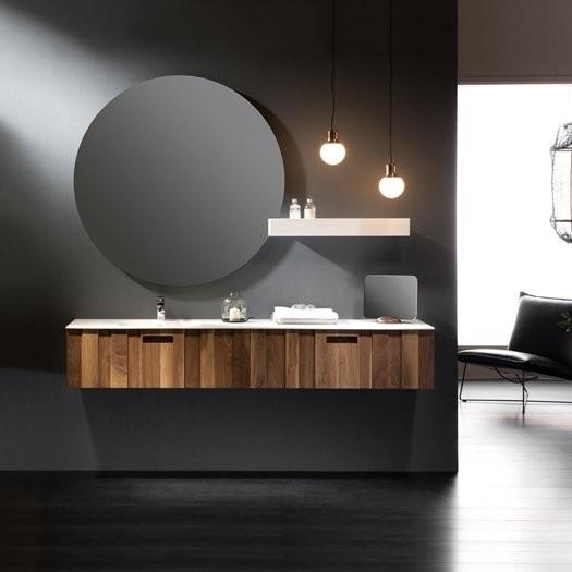 Ensemble KANTÉ - Vasque en Solid Surface + Meuble 2 tiroirs alignés Noyer Américain