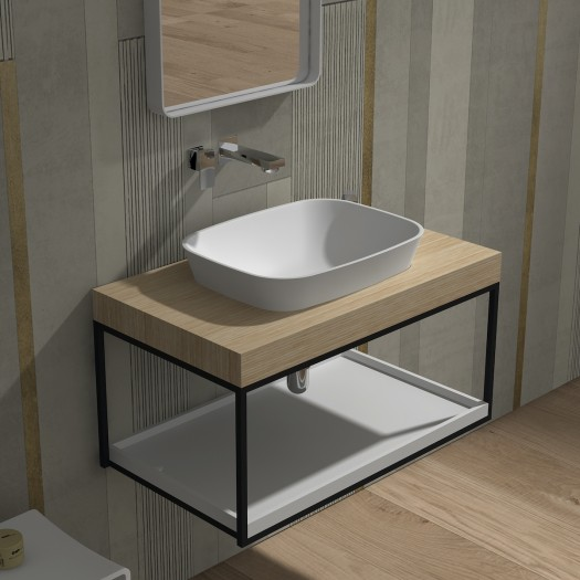 Meuble-vasque Malmö 90 en Solid Surface - 1 étagère
