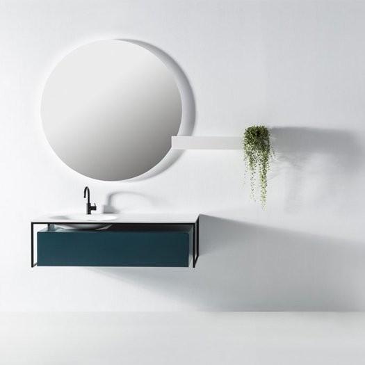 Plan vasque en Solid Surface DEPAY + meuble 1 tiroir ou avec étagère