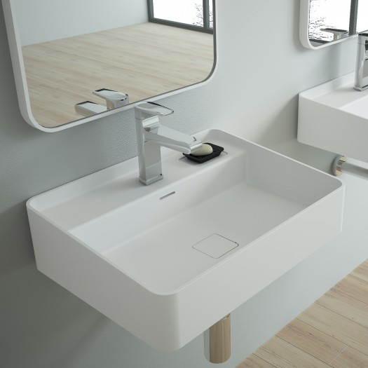 Lavabo à suspendre Myrtillo en Solid Surface