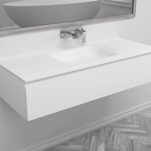 Ensemble Vasque Corian® Nevada + Meuble 1 Tiroir