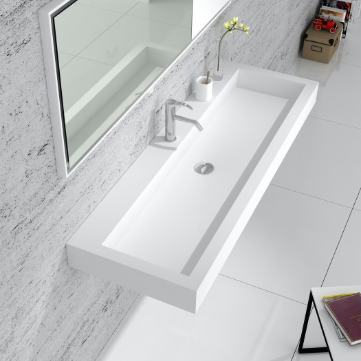 Lavabo mural Prunus 120 en Solid Surface