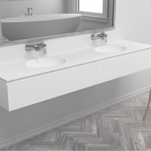 Ensemble Double Vasque Corian® Purity + Meuble 2 Tiroirs alignés