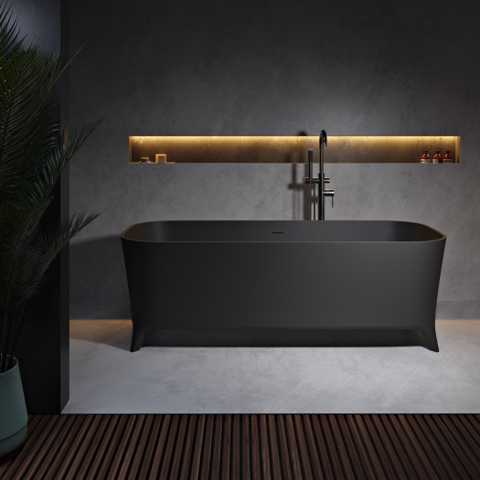 Baignoire Ilot Lofty Black 160cm en Solid Surface