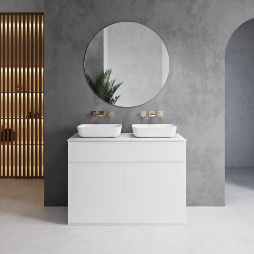 Ensemble Plan et Vasque Toronto Corian® à poser + Meuble 1 tiroir + 2 portes