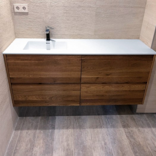 Ensemble Vasque Corian® Square + meuble 4 tiroirs