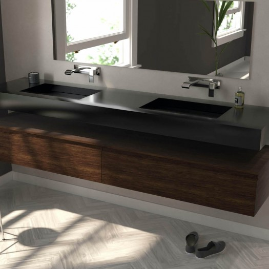 Double vasque Tennessee en Corian® Deep Nocturne