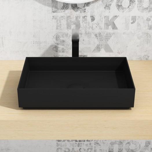 Vasque à poser en Solid Surface Zinnia Black 58cm