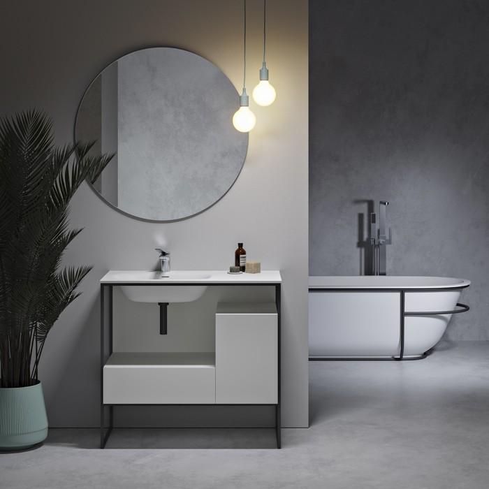 Plan Vasque Solid Surface Meuble Amsterdam En Mdf 2 Tiroir Riluxa Com