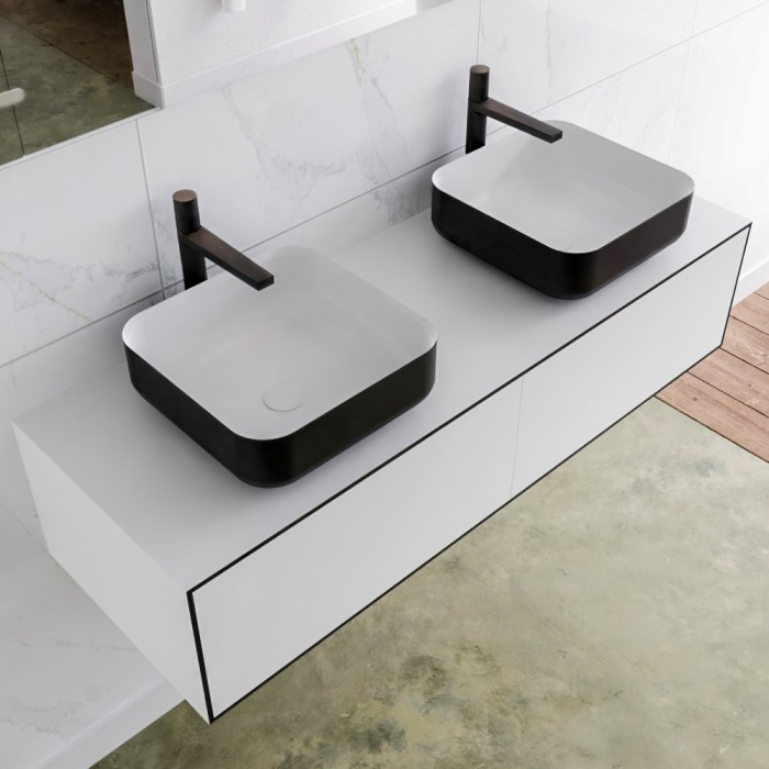 Double Vasque A Poser Solid Surface Meuble Suspendu En Mdf