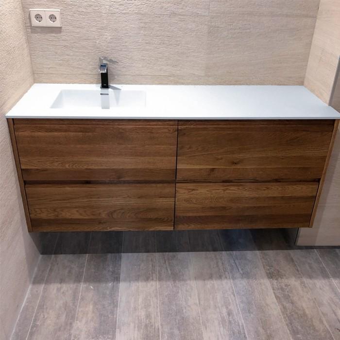 vasque corian square sur meuble 4 tiroirs salle de bains. Black Bedroom Furniture Sets. Home Design Ideas