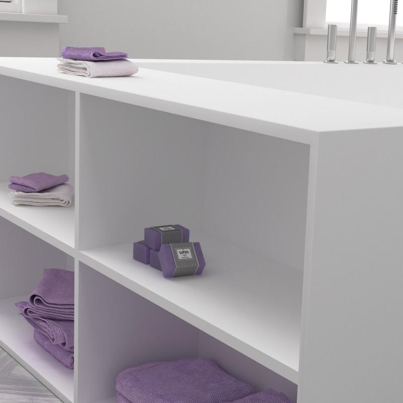 baignoire sur mesure en corian avec tageres laterales meuble salle de bains design. Black Bedroom Furniture Sets. Home Design Ideas