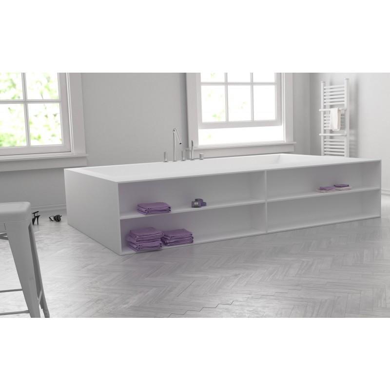 Baignoire sur mesure en corian avec tageres meuble for Meuble salle de bain corian