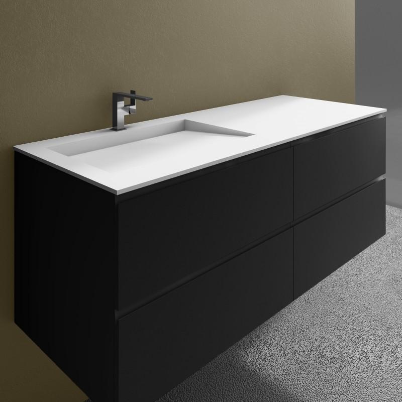 Ensemble vasque corian tennessee sur meuble suspendu 4 for Meuble salle de bain corian
