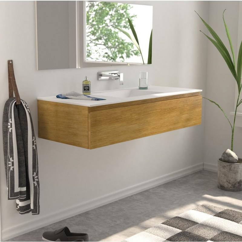 Meuble suspendu en ch ne massif comptoir 1 tiroir - Meuble salle de bain en chene massif ...