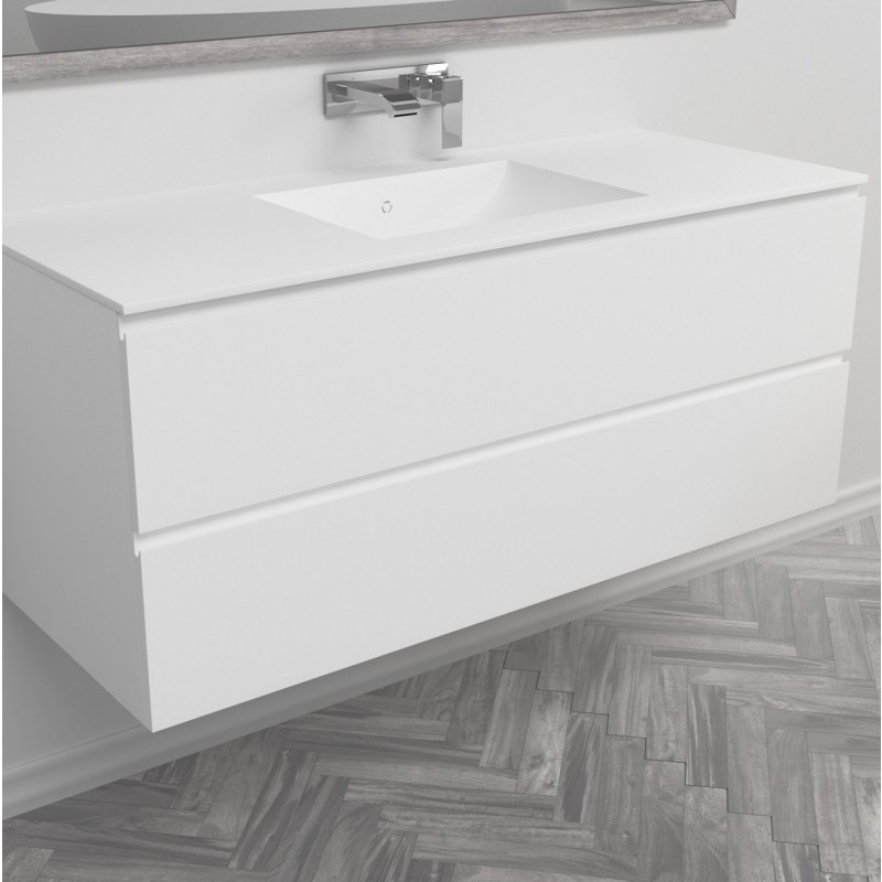 Ensemble vasque corian refresh sur meuble suspendu 2 for Pose vasque sur plan