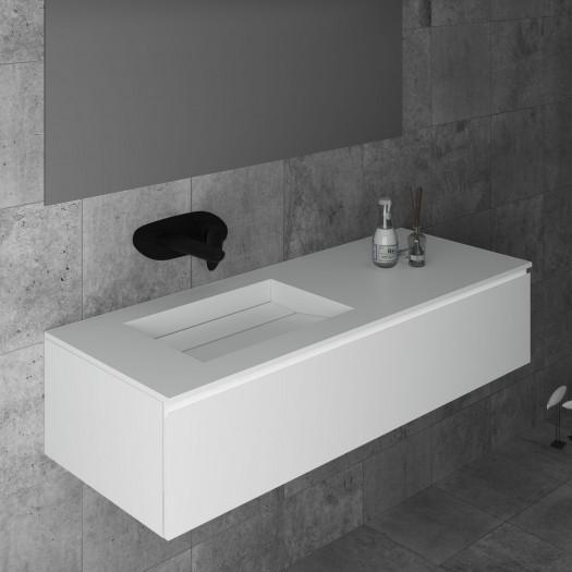 Waschtisch Corian® Alabama + Gaia Classic Wand- Unterschrank aus MDF - 1 Schublade
