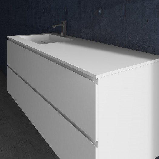 Waschtisch aus Corian® Alabama + Gaia Classic Wand- Unterschrank aus MDF - 2x1 Schubladen