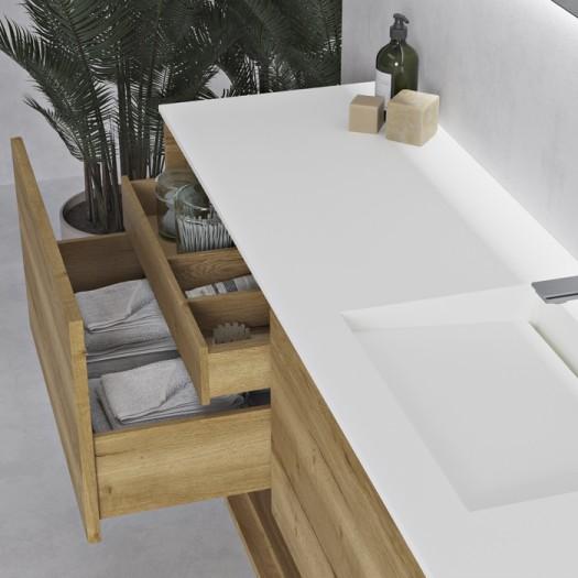 Tennessee Corian® Waschtisch + Athena Wood Eiche Massiv-Unterschrank - 2 Schubladen