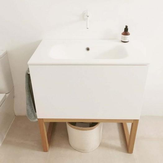 Möbel mit Holzsockel Combi mit 1 Schublade + Corian® Waschbecken