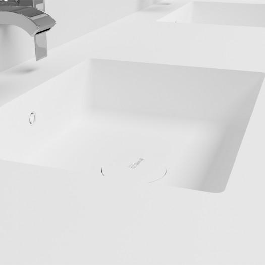Doppelwaschtisch aus Corian® Energy + Gaia Classic Wand- Unterschrank aus MDF - 1x2 Schubladen