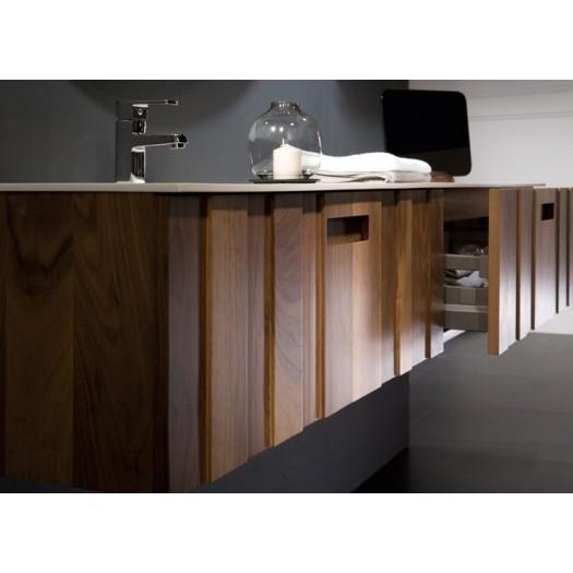KANTÉ Waschtisch aus Mineralguss + Möbel mit 2 SCHUBLADEN Amerikanische Walnuss