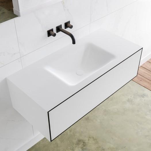 Mineralguss Waschtisch + Badezimmermöbel MDF LAGO - 1 Schublade