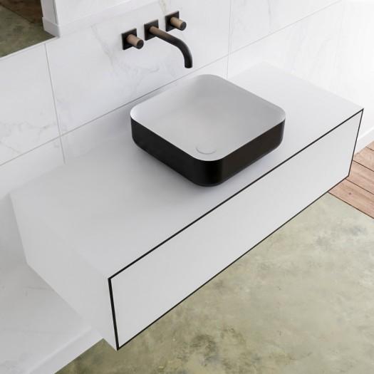 Mineralguss Waschbecken + Badezimmermöbel MDF LAGO - 1 Schublade