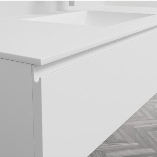 Waschtisch Corian® Refresh + Gaia Classic Wand- Unterschrank aus MDF - 1 Schublade