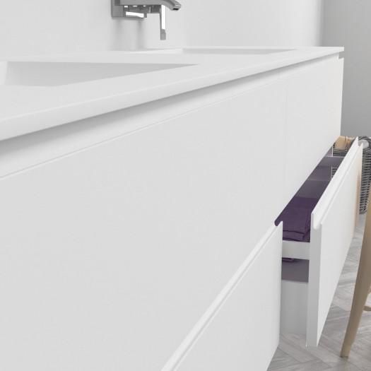 Doppelwaschtisch aus Corian® Refresh + Gaia Classic Wand- Unterschrank aus MDF - 4 Schubladen
