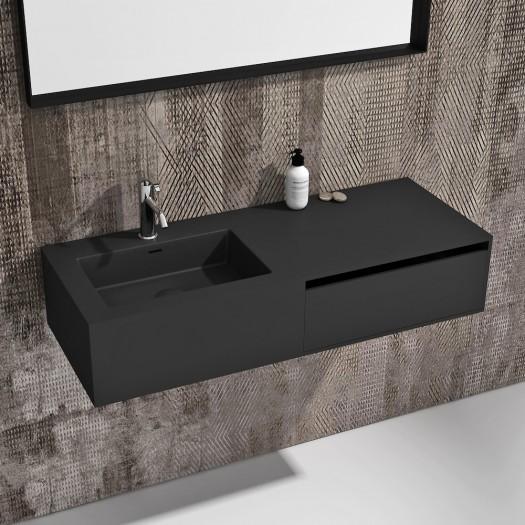Wandbadezimmermöbel mit Waschbecken Petunia Schwarz aus Mineralguss