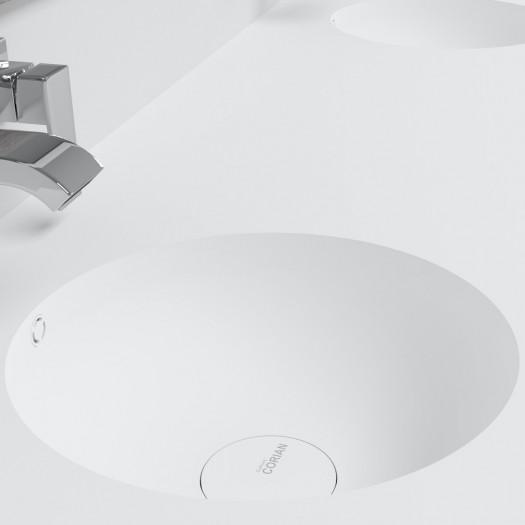 Doppelwaschtisch aus Corian® Purity + Gaia Classic Wand- Unterschrank aus MDF - 1x2 Schubladen