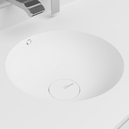 Waschtisch Corian® Purity + Gaia Classic Wand- Unterschrank aus MDF - 1 Schublade