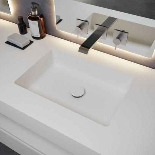 Square Waschtisch aus Corian® + Gaia Wood Eiche Massiv- Wand- Unterschrank - 2 Schubladen