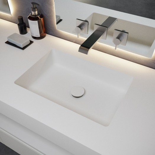 Square Waschtisch aus Corian® + Gaia Wood Eiche Massiv- Wand- Unterschrank - 4 Schubladen
