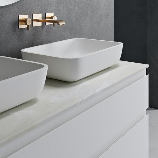 Corian® Arbeitsplatte und Toronto Waschbecken + Freistehende Badezimmermöbel - 1 Schublade und 2 Türen