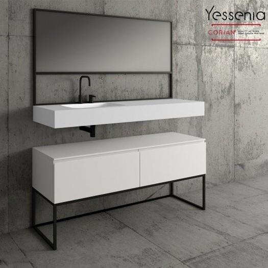 Wandwaschtisch aus Corian® + Gaia Classic Badezimmermöbel auf Metallsockel - 2 Schubladen