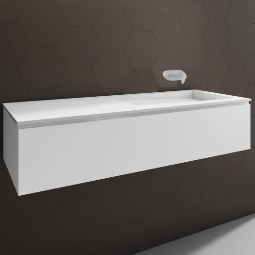 Waschtisch Corian® Canada + Gaia Classic Wand- Unterschrank aus MDF - 1 Schublade