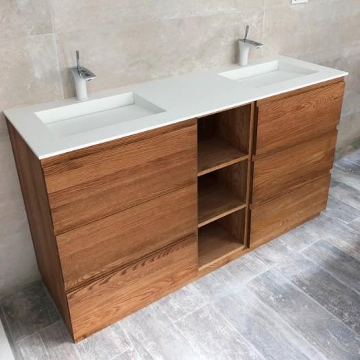 Doppelwaschbecken Corian® Tennessee + Artemis Wood Freistehende Eiche Massiv- Unterschrank - 6 Schubladen