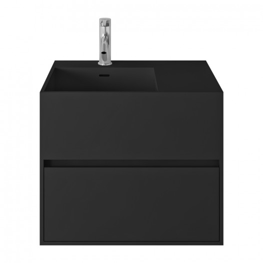 Badezimmermöbel Acebo Plus Schwarz aus Mineralguss - 1 Schublade