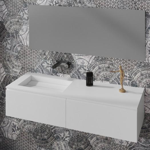 Waschtisch aus Corian® Alabama + Gaia Classic Wand- Unterschrank aus MDF - 1x2 Schubladen