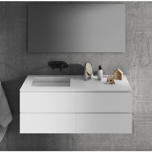 Waschtisch aus Corian® Alabama + Gaia Classic Wand- Unterschrank aus MDF - 4 Schubladen