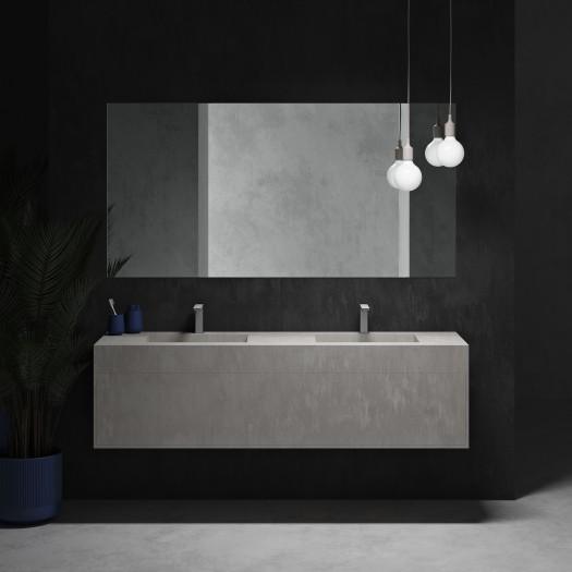 Gaia Renaissance Wand- Badezimmermöbel alle Corian® + Doppelwaschtisch Alabama - 1 Schublade