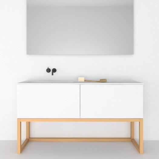 Möbel mit Holzsockel Combi mit 2 Schubladen + Corian® Waschbecken