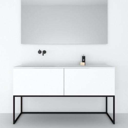 Möbel auf Metallbasis Combi mit 2 Schubladen + Corian® Waschbecken