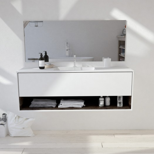 Toronto Corian® Waschtisch + Athena Classic Unterschrank - 1 Schublade