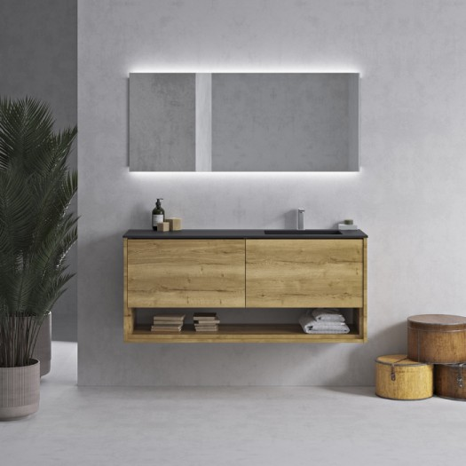 Tennessee Corian® Colour Waschtisch + Athena Wood Eiche Massiv-Unterschrank - 2 Schubladen