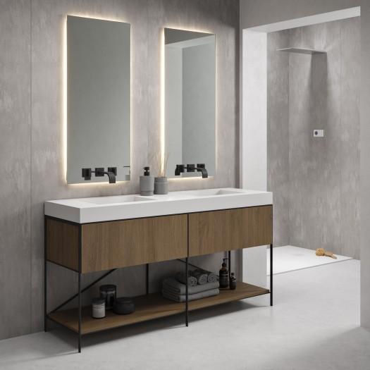 EOS Badezimmermöbel aus massiver Eiche auf Metallsockel 2 Schubladen + Corian® Doppelwaschbecken