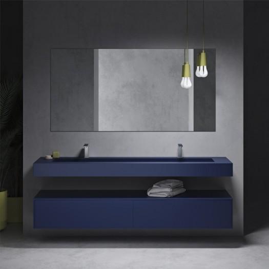 Georgia Wandwaschtisch + Gaia Renaissance Wand- Badezimmermöbel alle Corian® Colour - 2 Schubladen