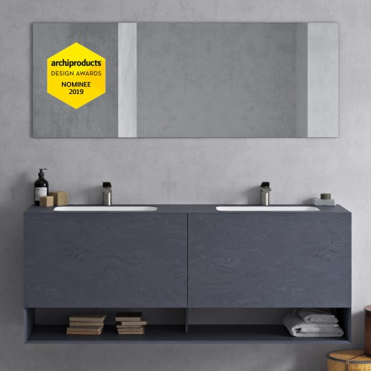Athena Renaissance Wand- Badezimmermöbel in Corian® Colour + Serenity Doppelwaschbecken - 2 Schubladen